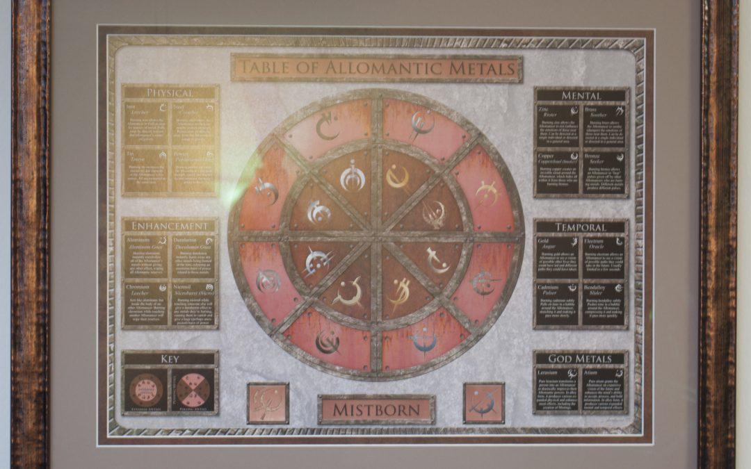 Mistborn Allomantic Table framed!